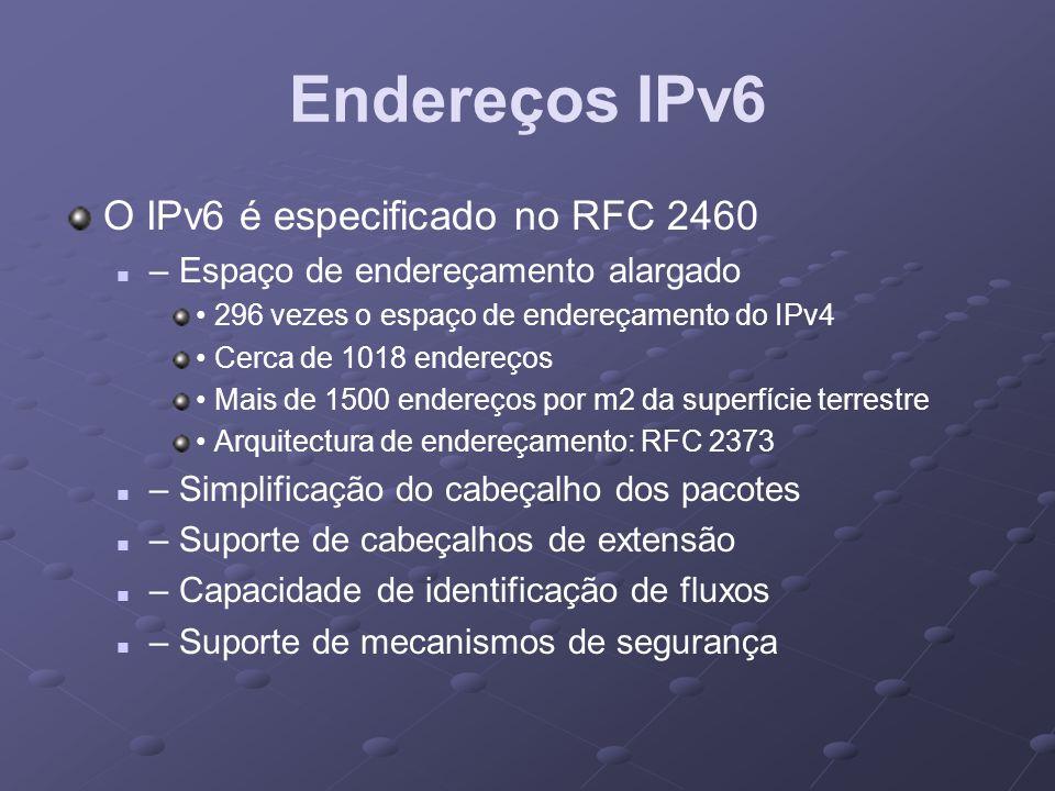 Endereços IPv6 O IPv6 é especificado no RFC 2460
