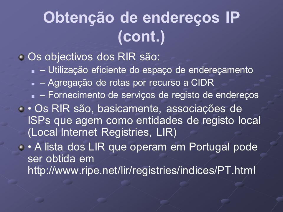 Obtenção de endereços IP (cont.)