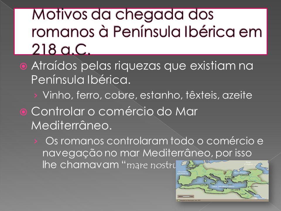 Motivos da chegada dos romanos à Península Ibérica em 218 a.C.