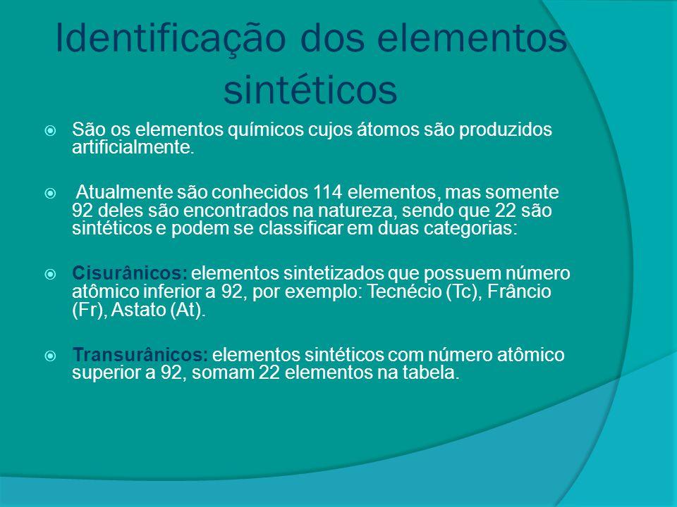 Identificação dos elementos sintéticos