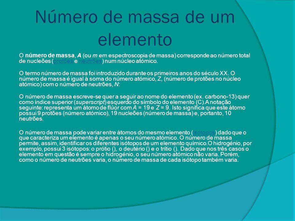 Número de massa de um elemento
