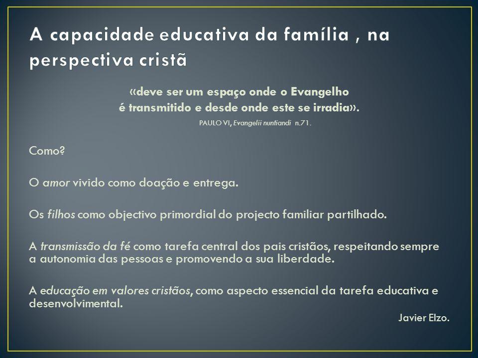 A capacidade educativa da família , na perspectiva cristã
