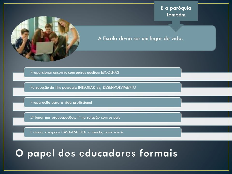 O papel dos educadores formais