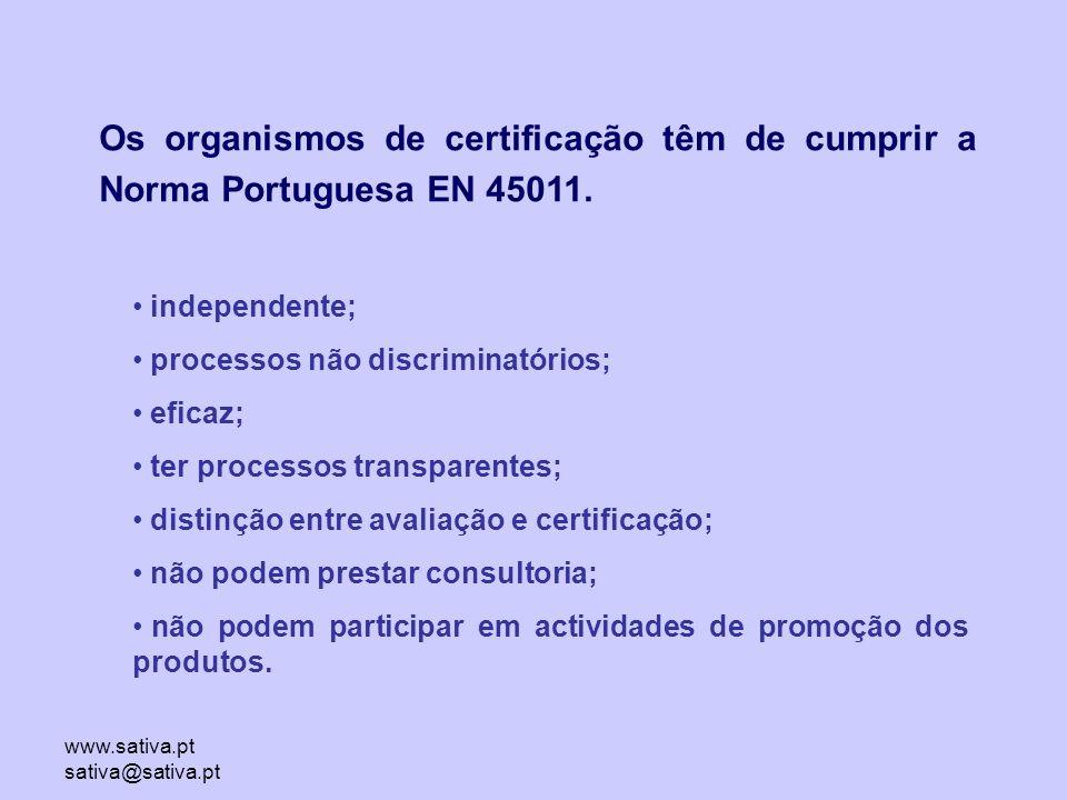 Os organismos de certificação têm de cumprir a Norma Portuguesa EN 45011.