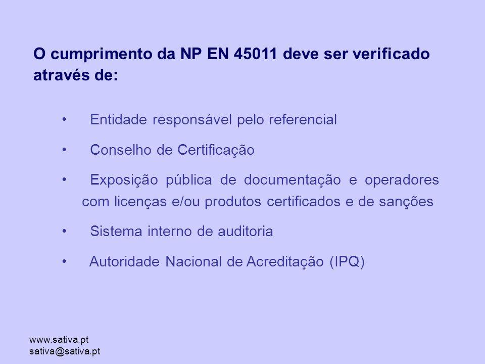 O cumprimento da NP EN 45011 deve ser verificado através de: