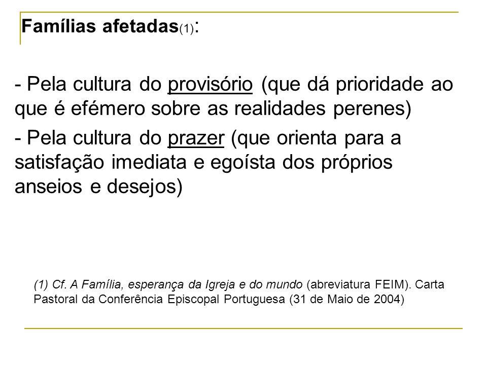Famílias afetadas(1): - Pela cultura do provisório (que dá prioridade ao que é efémero sobre as realidades perenes)