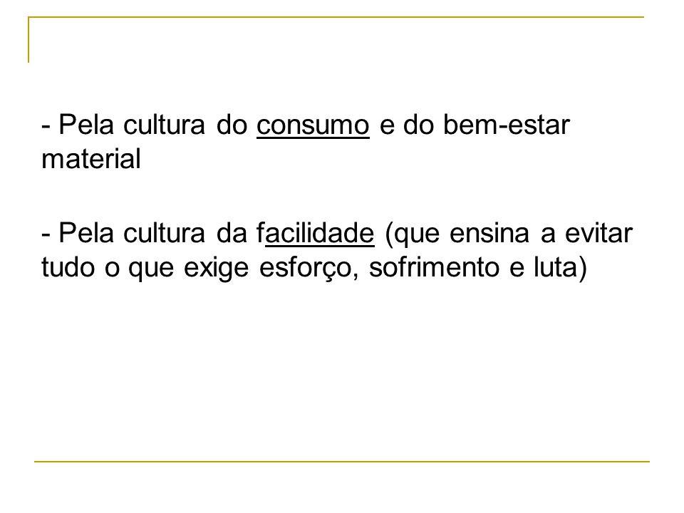 - Pela cultura do consumo e do bem-estar material