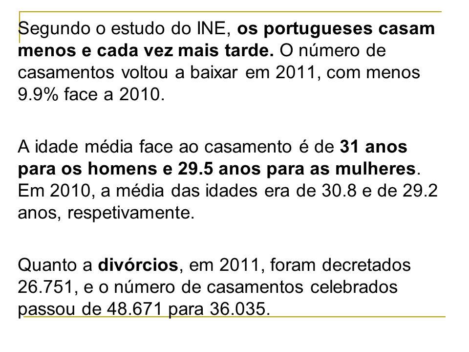 Segundo o estudo do INE, os portugueses casam menos e cada vez mais tarde.