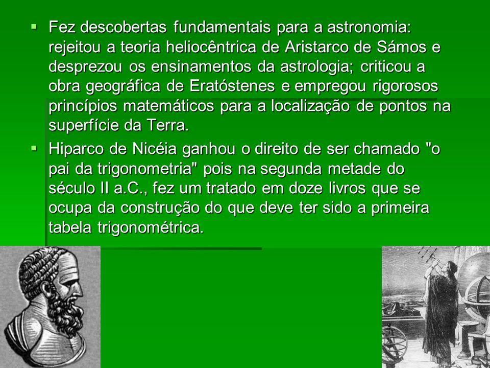 Fez descobertas fundamentais para a astronomia: rejeitou a teoria heliocêntrica de Aristarco de Sámos e desprezou os ensinamentos da astrologia; criticou a obra geográfica de Eratóstenes e empregou rigorosos princípios matemáticos para a localização de pontos na superfície da Terra.