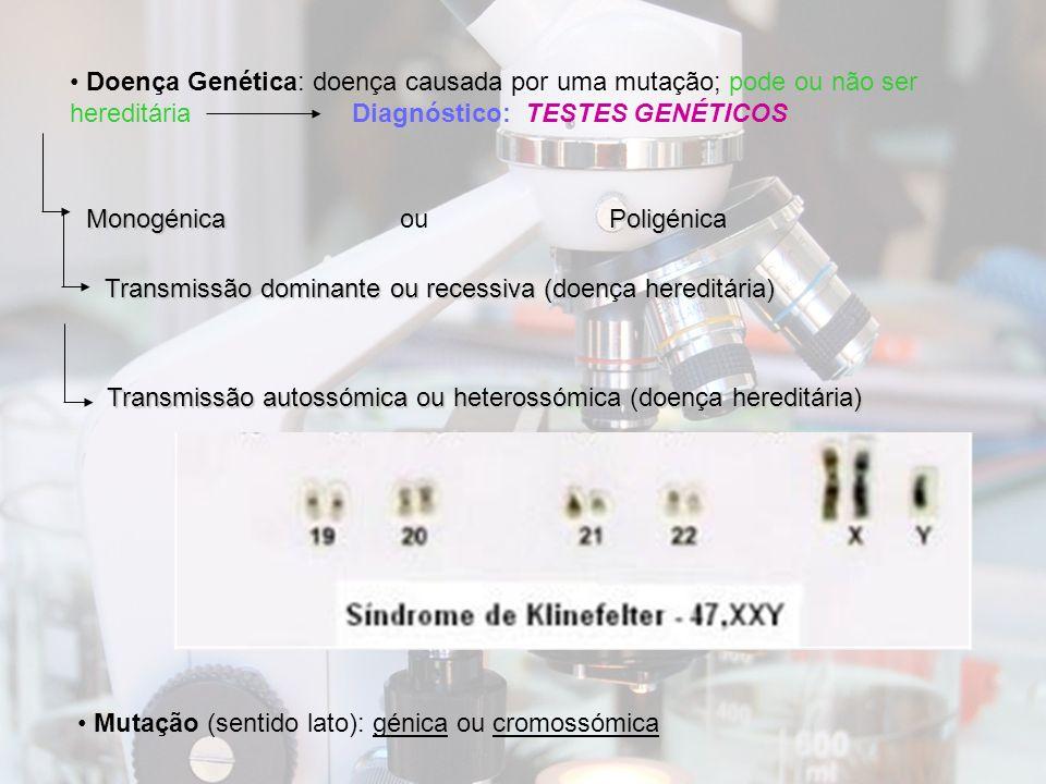 Doença Genética: doença causada por uma mutação; pode ou não ser hereditária Diagnóstico: TESTES GENÉTICOS