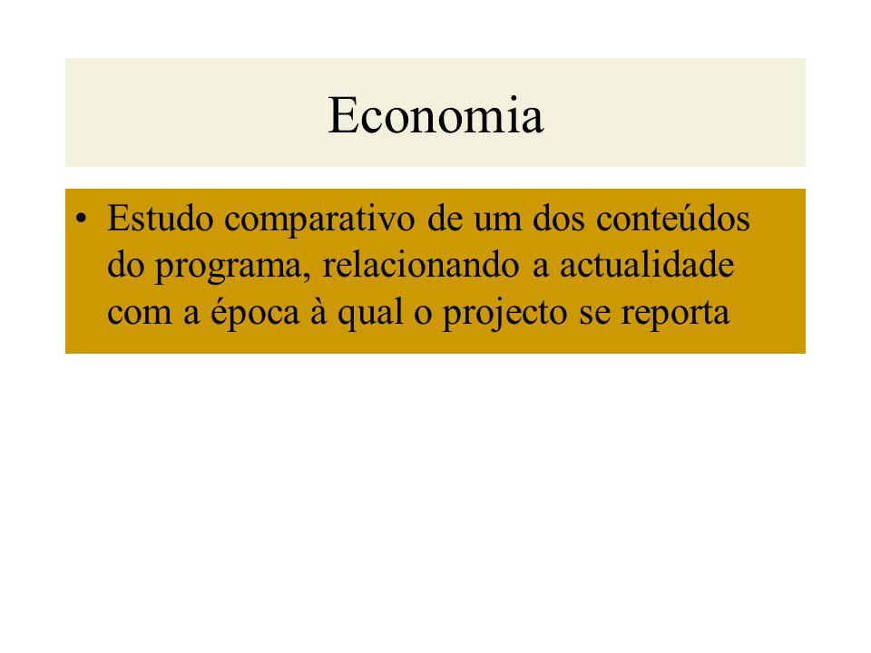 Economia Estudo comparativo de um dos conteúdos do programa, relacionando a actualidade com a época à qual o projecto se reporta.