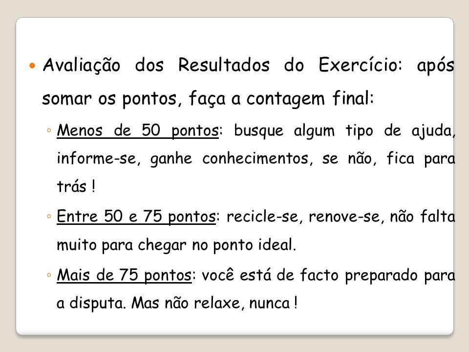 Avaliação dos Resultados do Exercício: após somar os pontos, faça a contagem final: