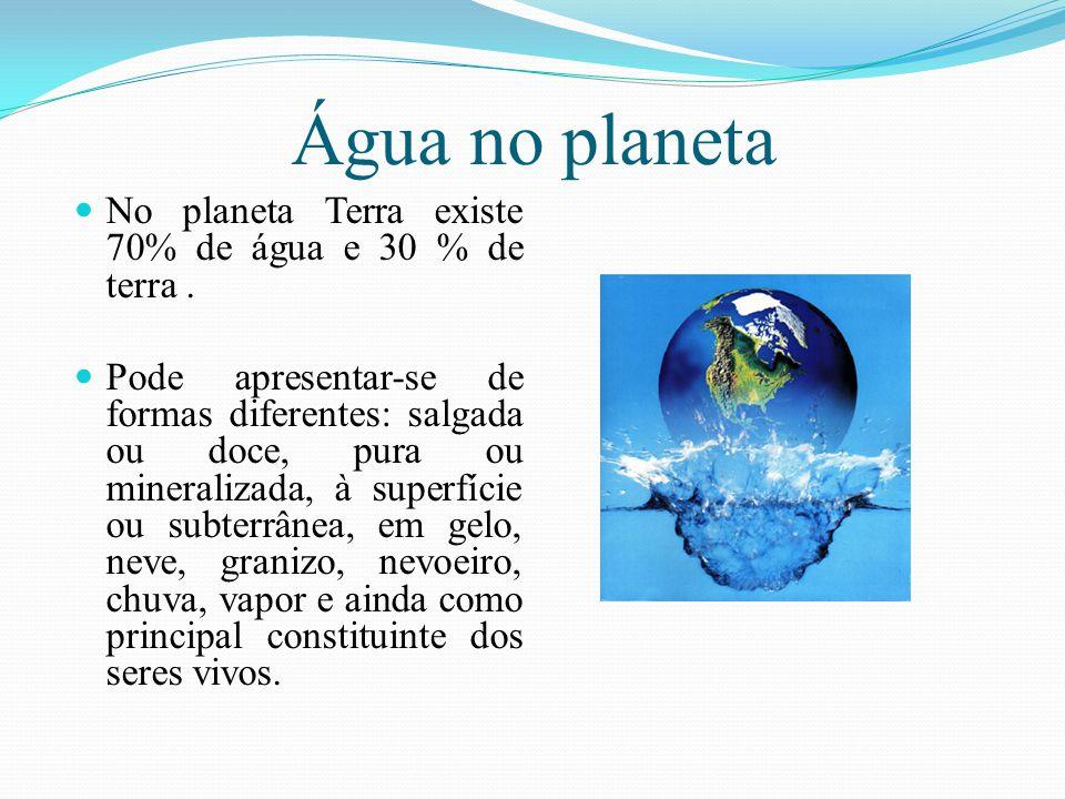 Água no planeta No planeta Terra existe 70% de água e 30 % de terra .