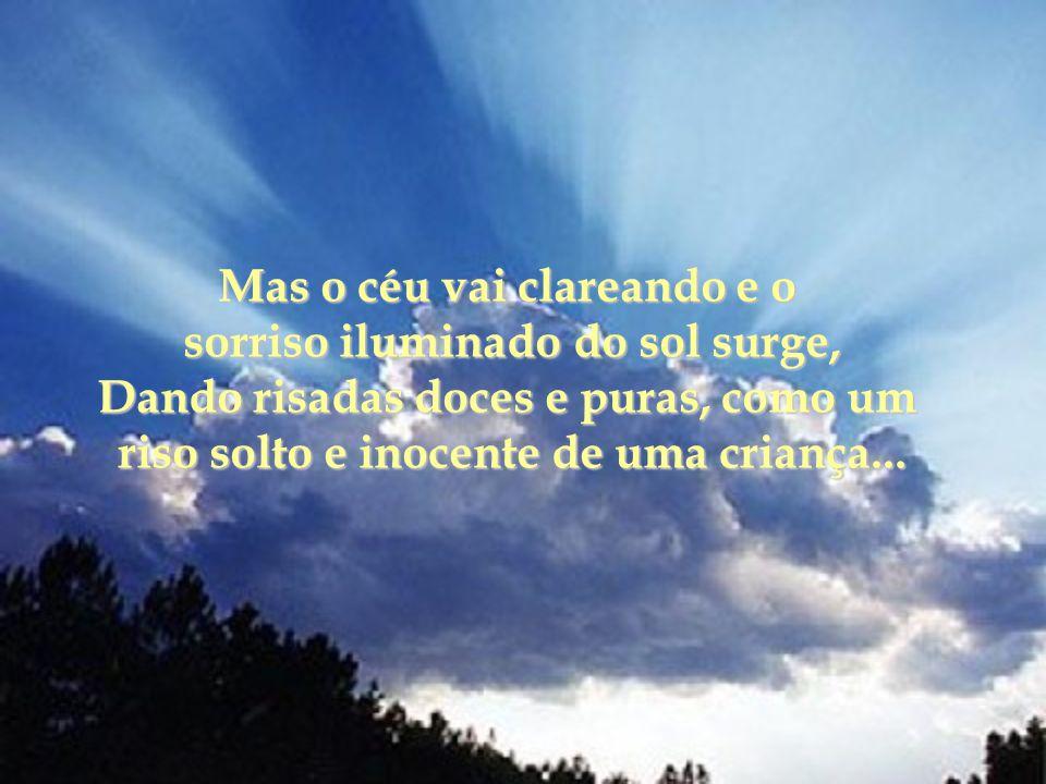 Mas o céu vai clareando e o sorriso iluminado do sol surge,