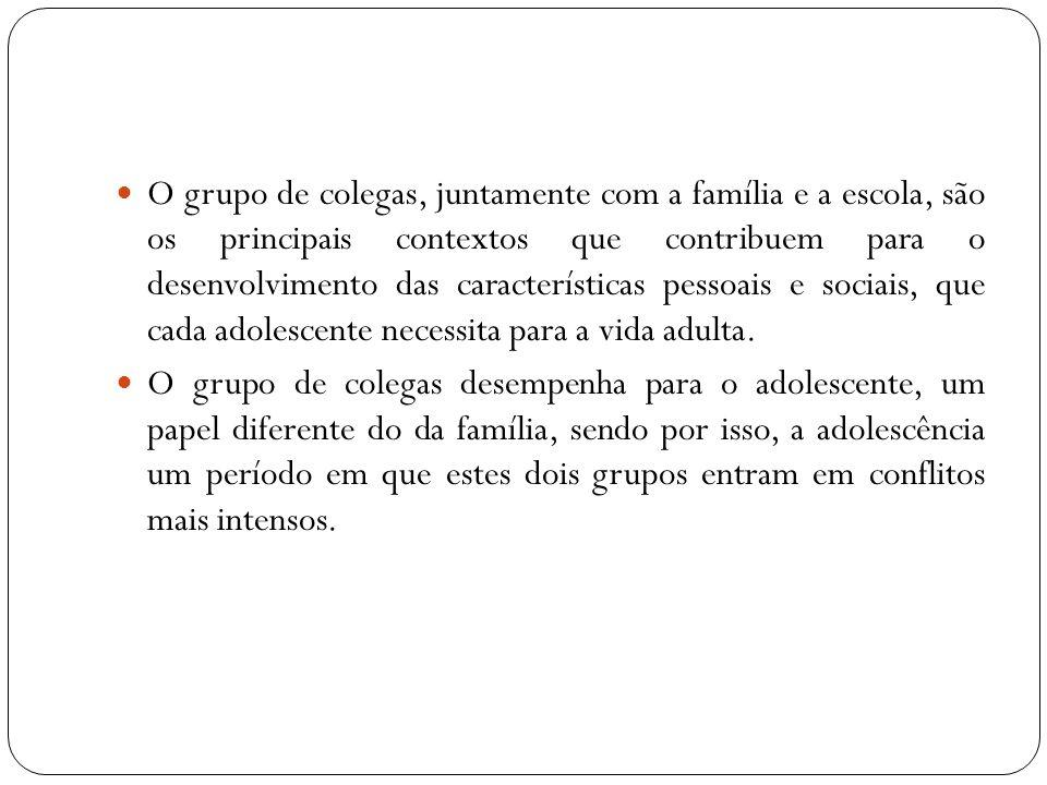 O grupo de colegas, juntamente com a família e a escola, são os principais contextos que contribuem para o desenvolvimento das características pessoais e sociais, que cada adolescente necessita para a vida adulta.