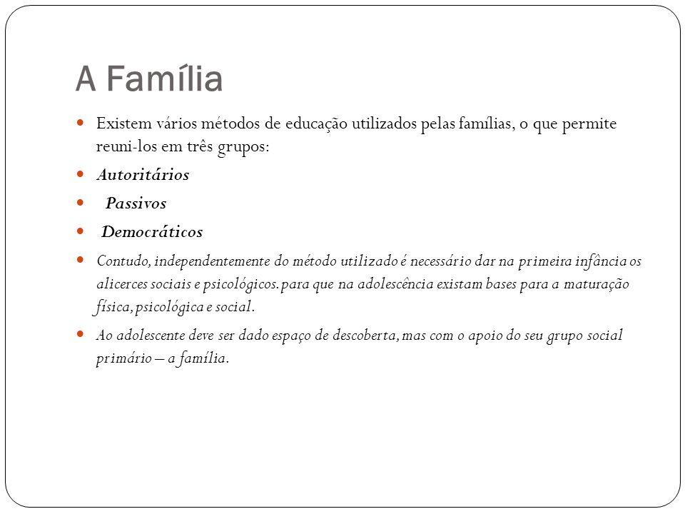 A Família Existem vários métodos de educação utilizados pelas famílias, o que permite reuni-los em três grupos: