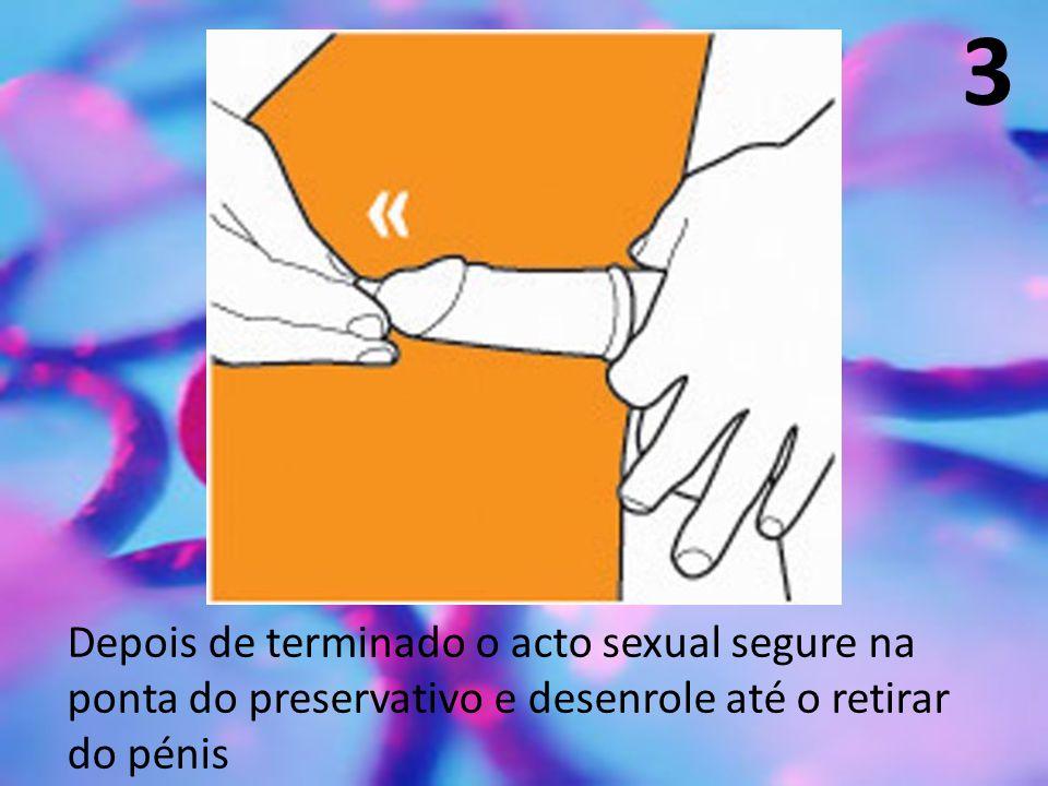 3 Depois de terminado o acto sexual segure na ponta do preservativo e desenrole até o retirar do pénis.