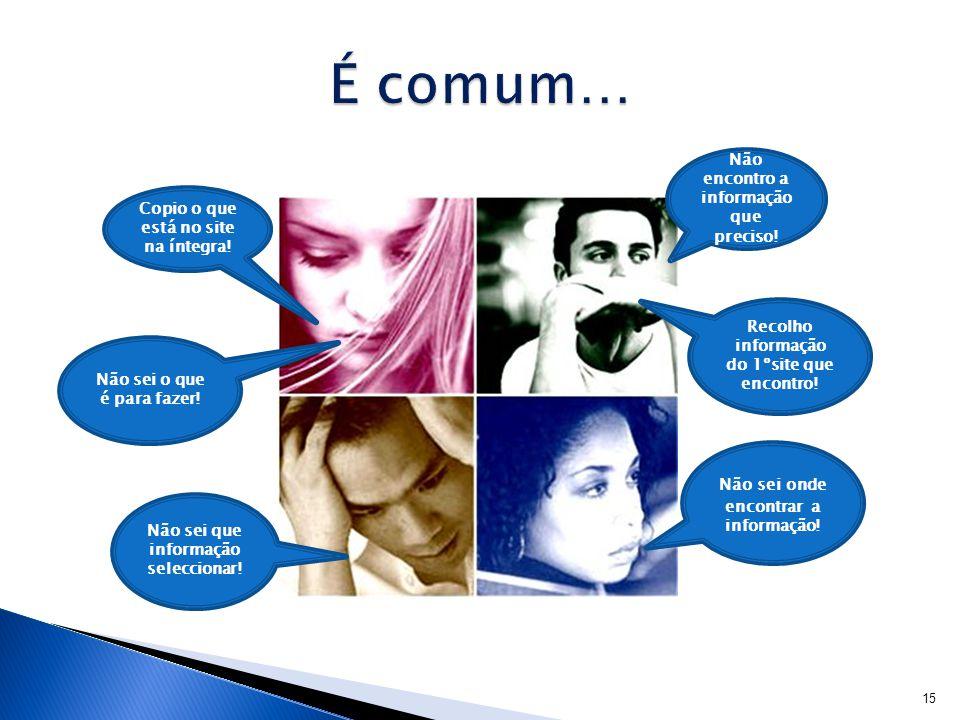 É comum… Não encontro a informação que preciso!