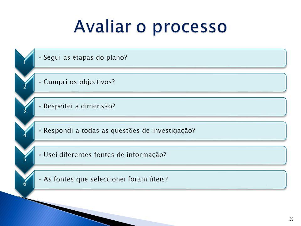 Avaliar o processo Segui as etapas do plano Cumpri os objectivos