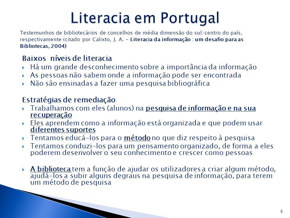 Literacia em Portugal Baixos níveis de literacia