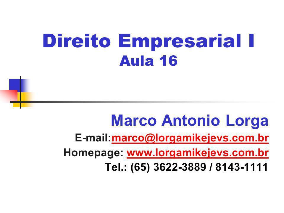 Direito Empresarial I Aula 16