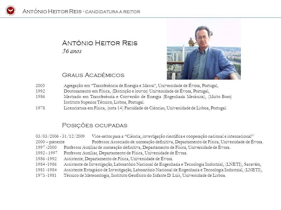 António Heitor Reis 56 anos Graus Académicos Posições ocupadas