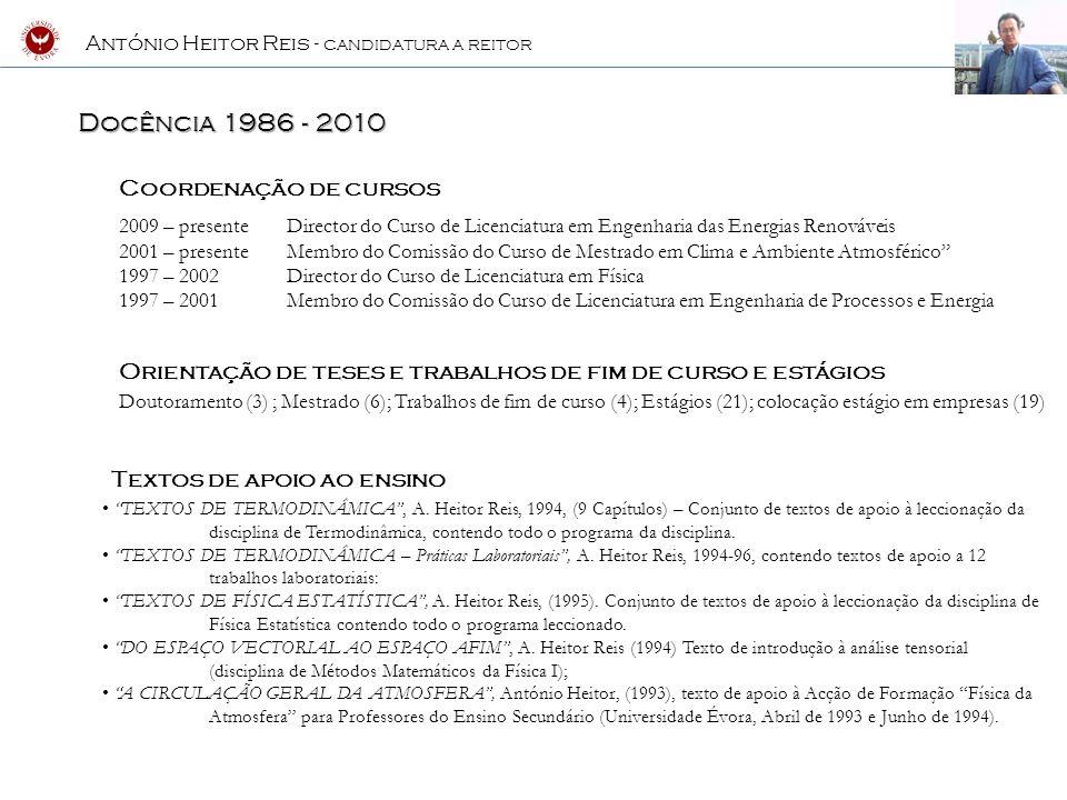 Docência 1986 - 2010 Coordenação de cursos