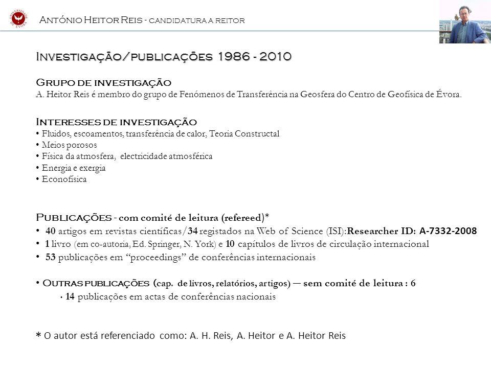Investigação/publicações 1986 - 2010