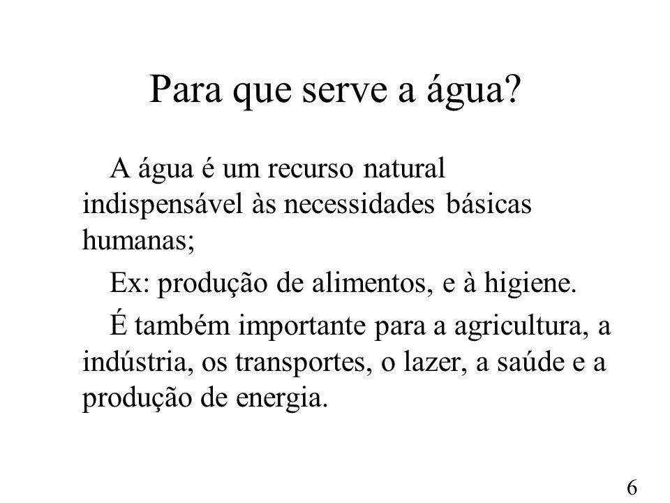 Para que serve a água A água é um recurso natural indispensável às necessidades básicas humanas; Ex: produção de alimentos, e à higiene.