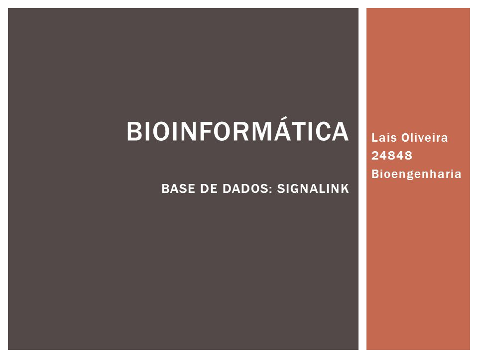 Bioinformática Base de dados: signalink