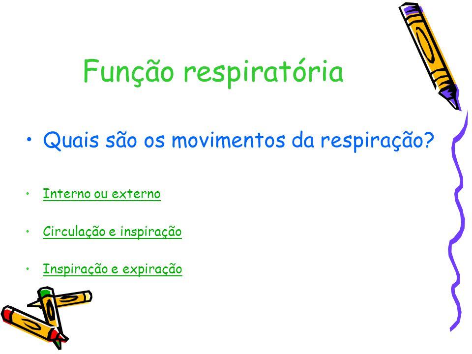 Função respiratória Quais são os movimentos da respiração