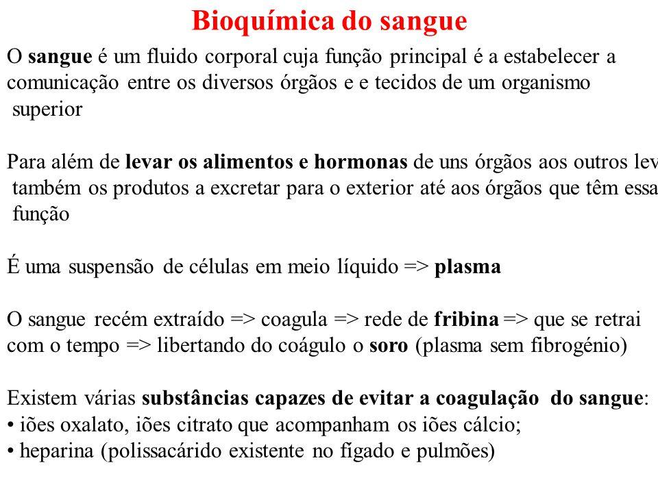 Bioquímica do sangue O sangue é um fluido corporal cuja função principal é a estabelecer a.