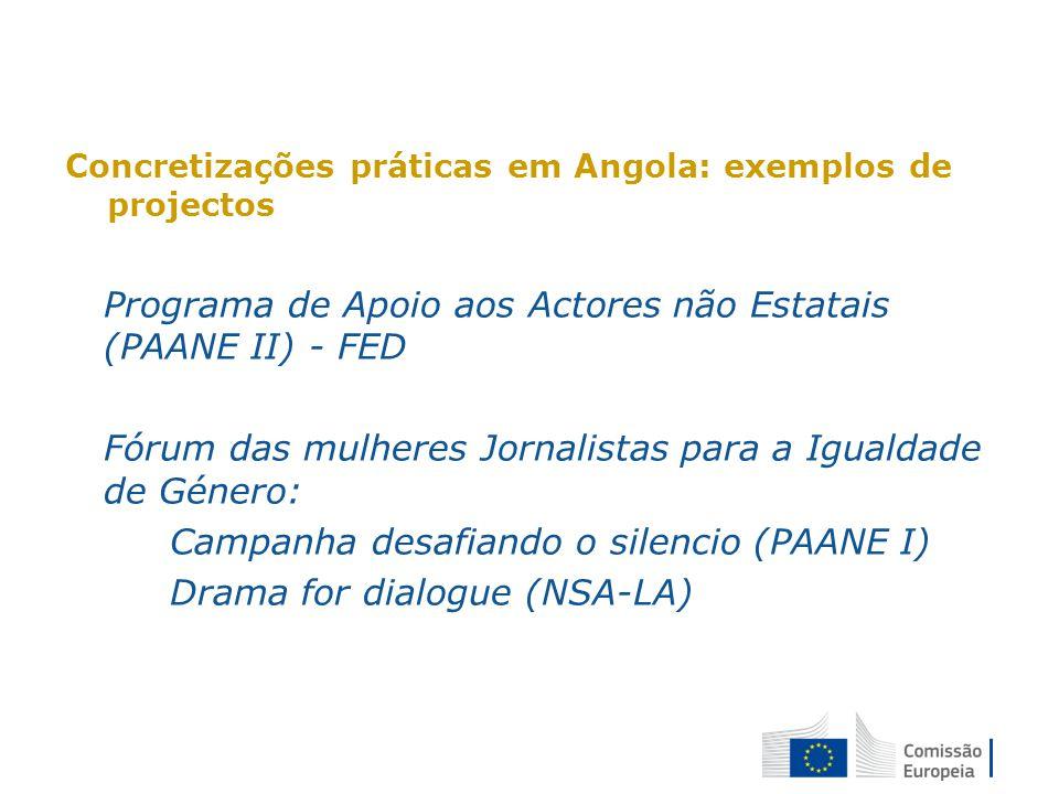 Concretizações práticas em Angola: exemplos de projectos