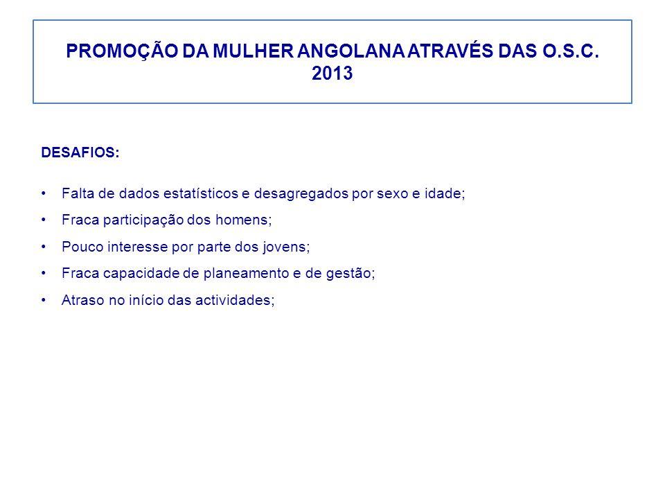 PROMOÇÃO DA MULHER ANGOLANA ATRAVÉS DAS O.S.C. 2013