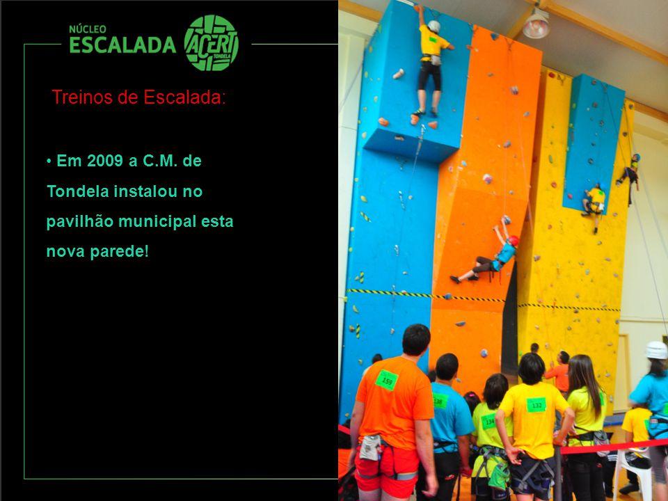 Treinos de Escalada: Em 2009 a C.M. de Tondela instalou no pavilhão municipal esta nova parede!