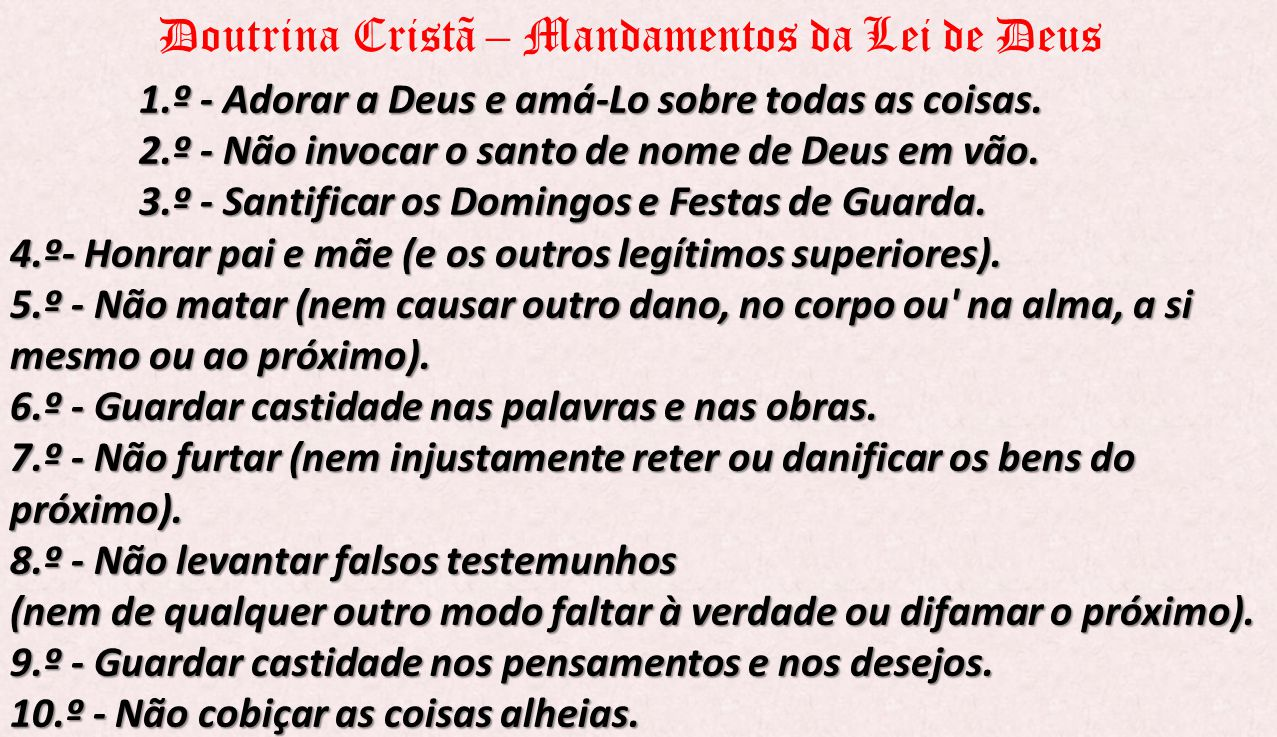 Doutrina Cristã – Mandamentos da Lei de Deus