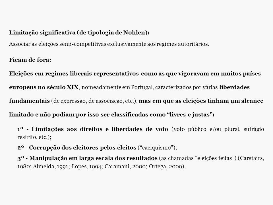 Limitação significativa (de tipologia de Nohlen): Associar as eleições semi-competitivas exclusivamente aos regimes autoritários.