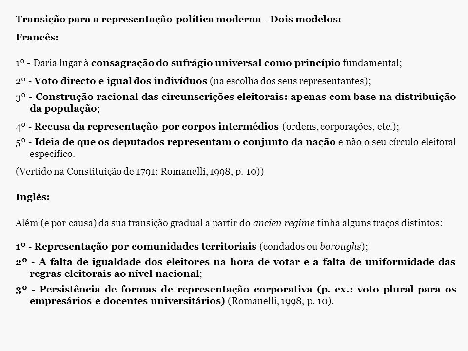 Transição para a representação política moderna - Dois modelos: