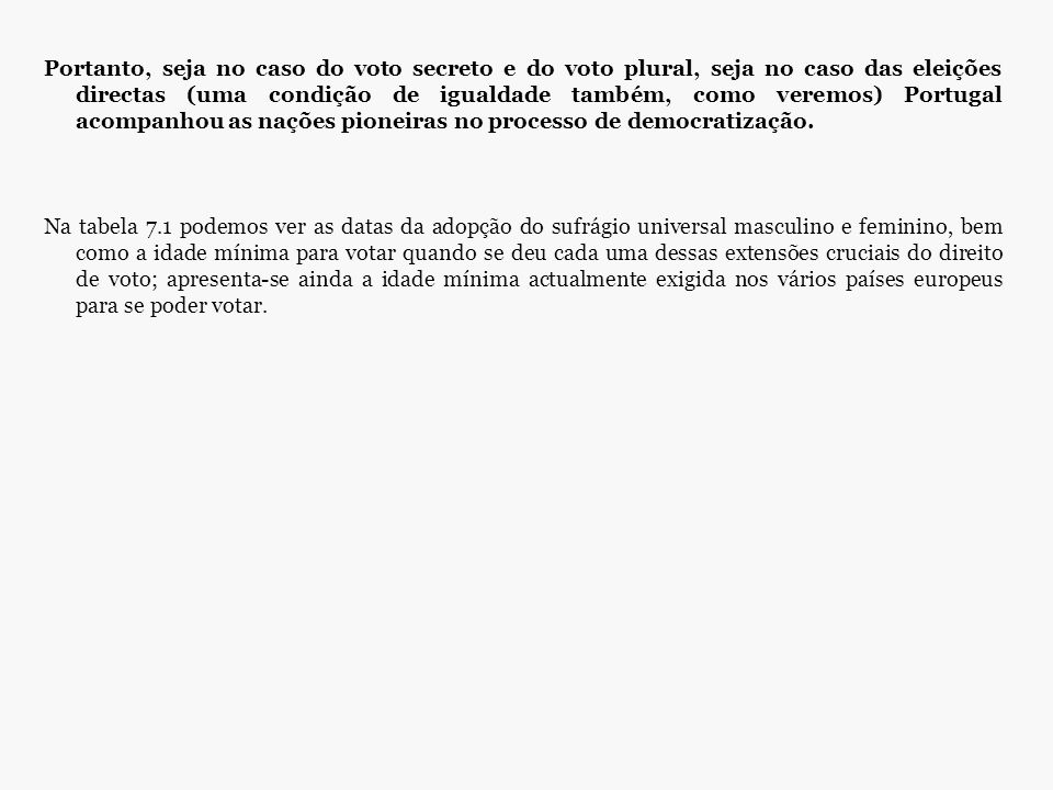 Portanto, seja no caso do voto secreto e do voto plural, seja no caso das eleições directas (uma condição de igualdade também, como veremos) Portugal acompanhou as nações pioneiras no processo de democratização.