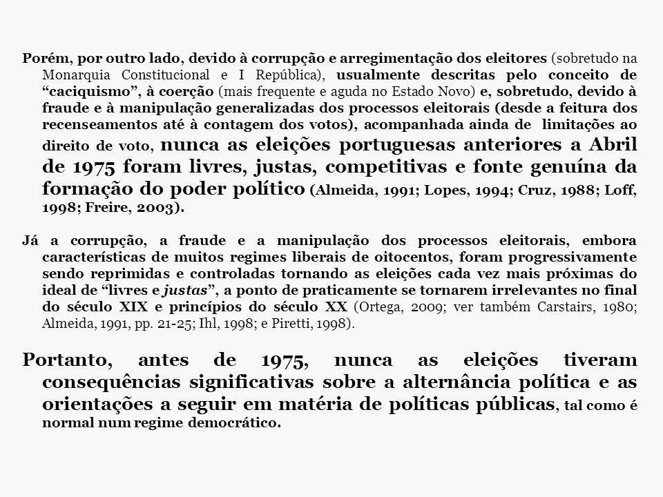 Porém, por outro lado, devido à corrupção e arregimentação dos eleitores (sobretudo na Monarquia Constitucional e I República), usualmente descritas pelo conceito de caciquismo , à coerção (mais frequente e aguda no Estado Novo) e, sobretudo, devido à fraude e à manipulação generalizadas dos processos eleitorais (desde a feitura dos recenseamentos até à contagem dos votos), acompanhada ainda de limitações ao direito de voto, nunca as eleições portuguesas anteriores a Abril de 1975 foram livres, justas, competitivas e fonte genuína da formação do poder político (Almeida, 1991; Lopes, 1994; Cruz, 1988; Loff, 1998; Freire, 2003).