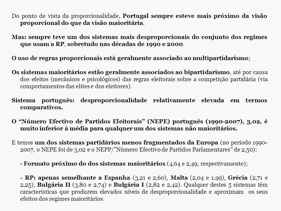 Do ponto de vista da proporcionalidade, Portugal sempre esteve mais próximo da visão proporcional do que da visão maioritária.