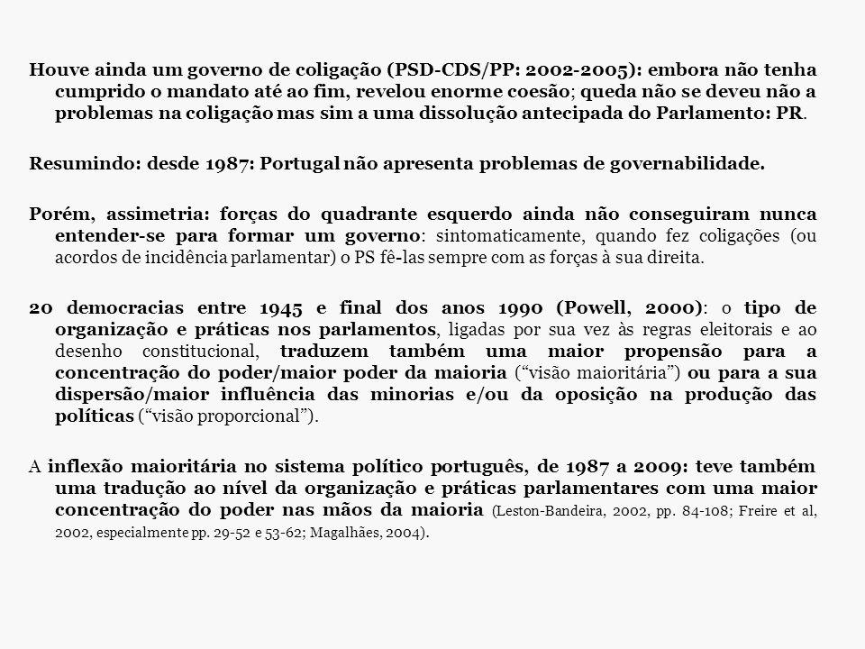 Houve ainda um governo de coligação (PSD-CDS/PP: 2002-2005): embora não tenha cumprido o mandato até ao fim, revelou enorme coesão; queda não se deveu não a problemas na coligação mas sim a uma dissolução antecipada do Parlamento: PR.