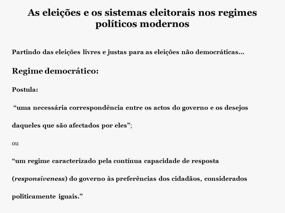 As eleições e os sistemas eleitorais nos regimes políticos modernos