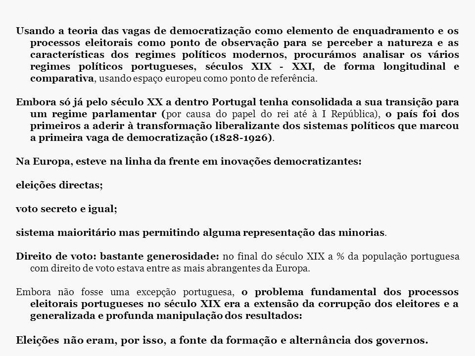 Usando a teoria das vagas de democratização como elemento de enquadramento e os processos eleitorais como ponto de observação para se perceber a natureza e as características dos regimes políticos modernos, procurámos analisar os vários regimes políticos portugueses, séculos XIX - XXI, de forma longitudinal e comparativa, usando espaço europeu como ponto de referência.