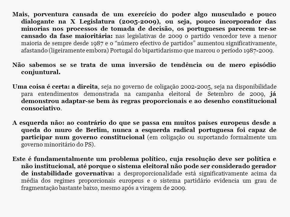 Mais, porventura cansada de um exercício do poder algo musculado e pouco dialogante na X Legislatura (2005-2009), ou seja, pouco incorporador das minorias nos processos de tomada de decisão, os portugueses parecem ter-se cansado da fase maioritária: nas legislativas de 2009 o partido vencedor teve a menor maioria de sempre desde 1987 e o número efectivo de partidos aumentou significativamente, afastando (ligeiramente embora) Portugal do bipartidarismo que marcou o período 1987-2009.
