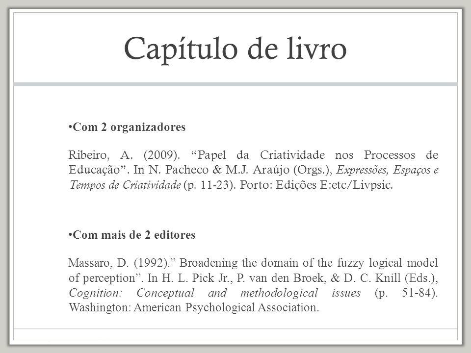Capítulo de livro Com 2 organizadores