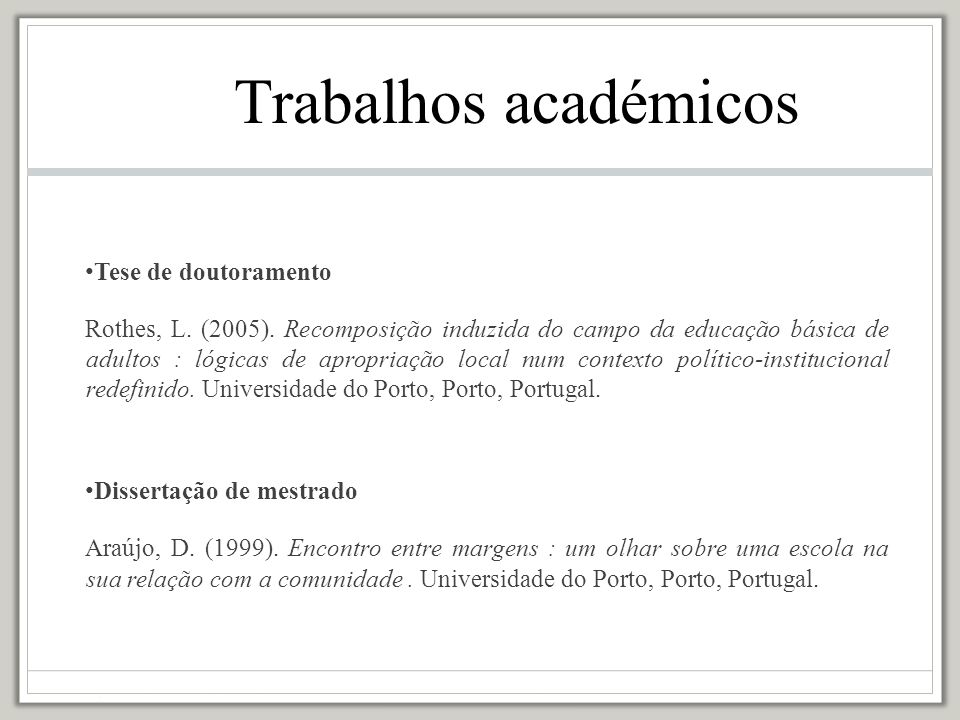 Trabalhos académicos Tese de doutoramento