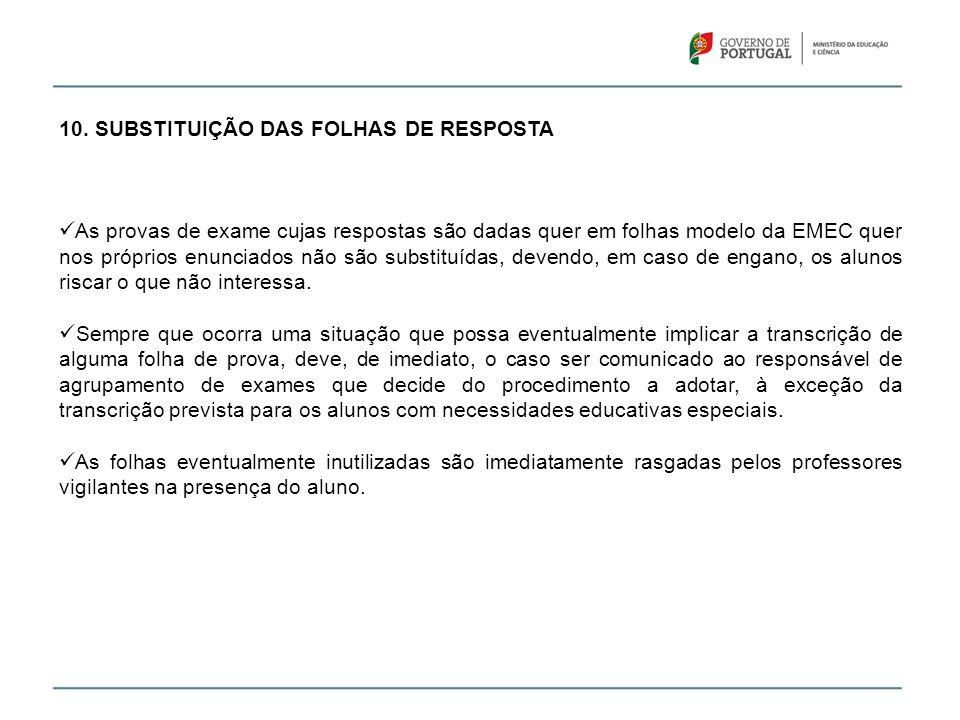 10. SUBSTITUIÇÃO DAS FOLHAS DE RESPOSTA