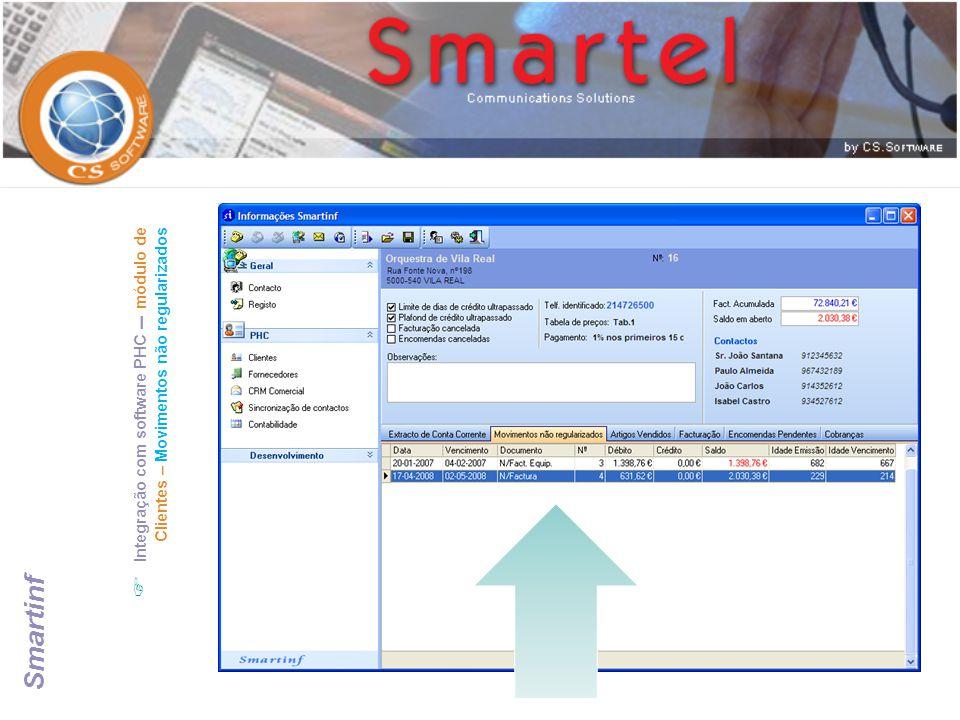 Integração com software PHC – módulo de Clientes – Movimentos não regularizados