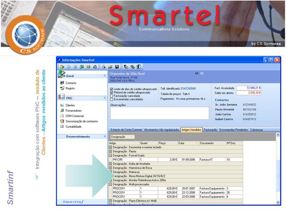 Integração com software PHC – módulo de Clientes – Artigos vendidos ao cliente